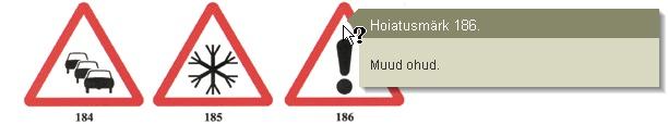 Liiklusmärkide näide